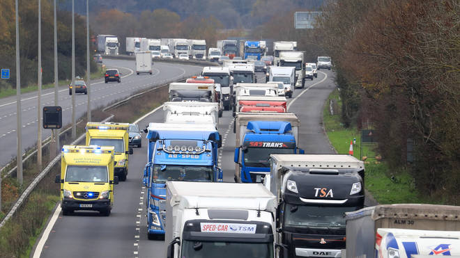 Large queues formed on the M20 in Kent as Brexit border controls were tested on Tuesday