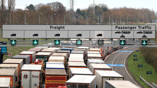 Lorries queued up in Kent as documents were checked by French officials for Brexit tests
