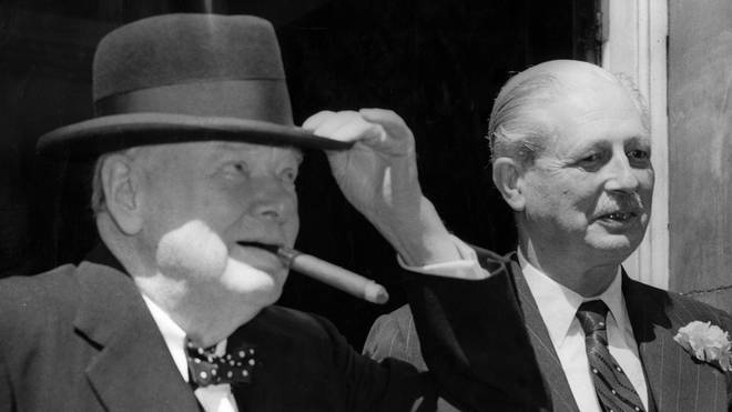 Sir Winston Churchill meets prime minister Harold Macmillan in 1959