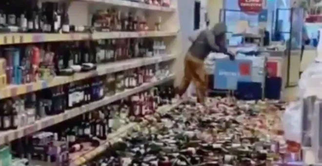 "The woman smashed ""over 500 bottles of alcohol"""