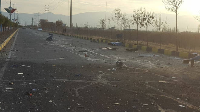 Debris after top Iranian nuclear scientist Mohsen Fakhrizadeh Mahabadi, 62, ambushed while traveling on a rural road.