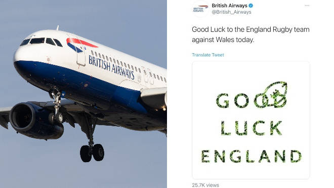 British Airways has deleted the tweet in question after irking Welsh rugby fans