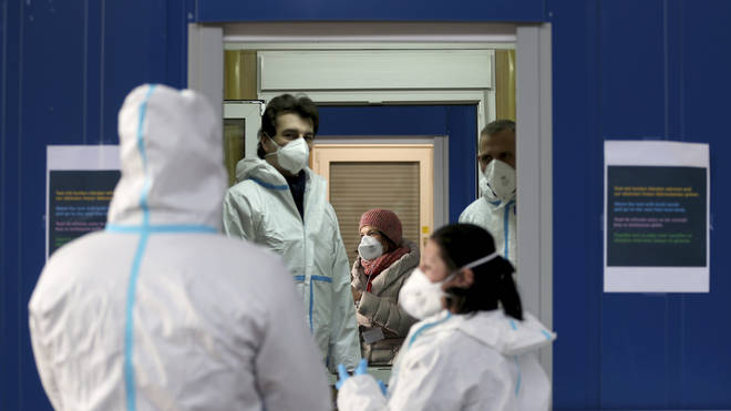 Medical workers at a site for coronavirus testing in Vienna