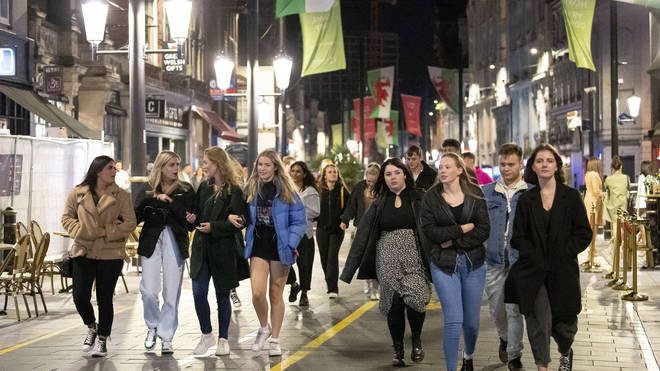 Revellers enjoy a night out in Cardiff