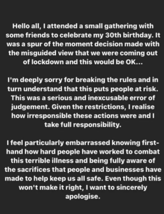 Rita Ora posted an apology to her Instagram