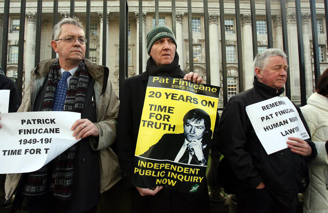 Martin Finucane (centre) protesting outside Belfast's High Court in 2009 on the 20th anniversary of his brother's death