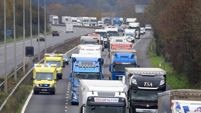 Freight lorries on the M20 in Kent (file image)