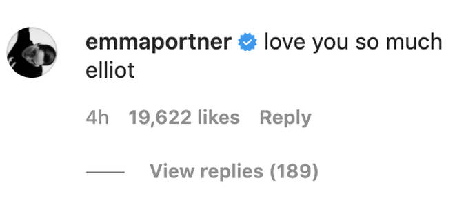 Page's wife Emma Portner posted her support of Elliot on his Instagram post