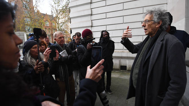 Piers Corbyn outside Westminster Magistrates' Court on Wednesday
