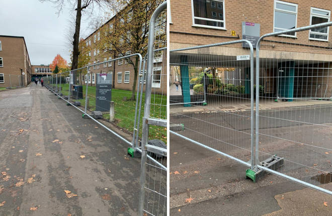 Fencing was put up around many blocks and communal areas at Manchester University