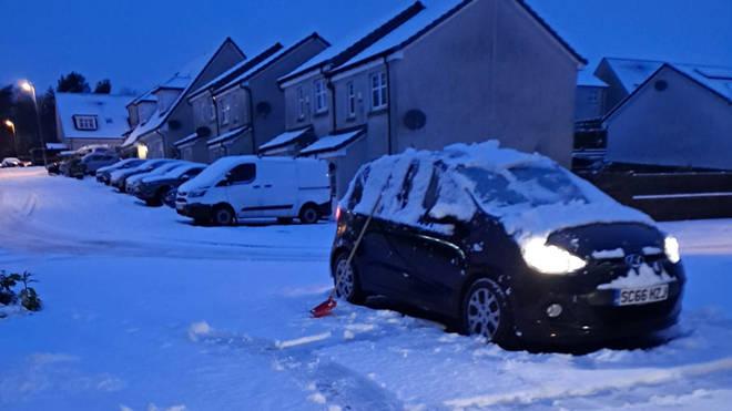 Heavy snow fell in Scotland overnight