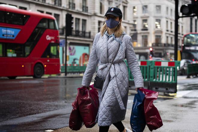 A shopper wearing a face mask in Regent Street, London
