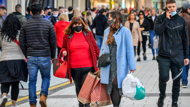 Shoppers in Cardiff, Wales, in November
