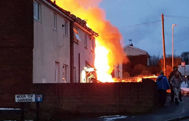The house was engulfed in flames