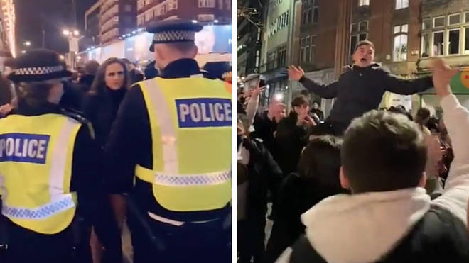 Police positioned themselves outside Harrods (left), while large crowds danced in Nottingham city centre (right).