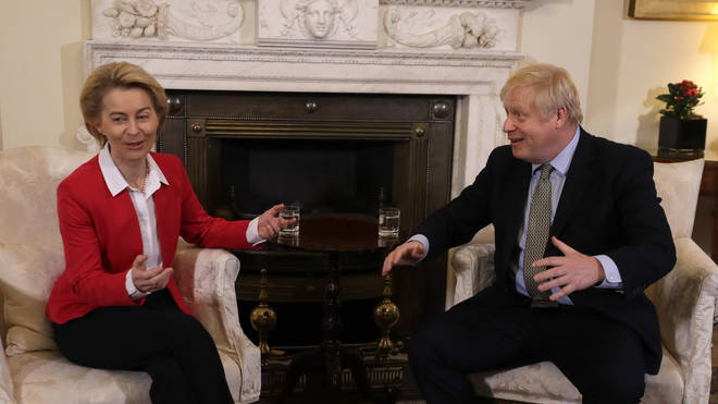 Boris Johnson and EU Commission president Ursula von der Leyen during a meeting in Downing Street