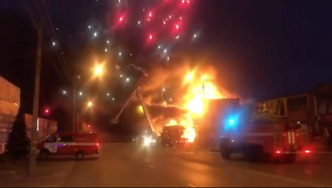 Large amounts of smoke could be seen bellowing out of the fireworks store before it exploded.