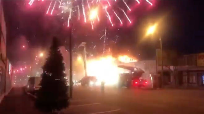 In videos posted on social media fireworks can be seen exploding around the emergency vehicles.