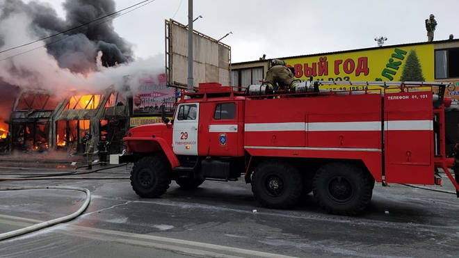 446 firefighters tackled the blaze throughout the night in freezing temperatures.