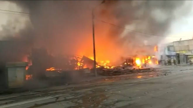 Videos showed extensive damage to the area in Rostov-on-Don.