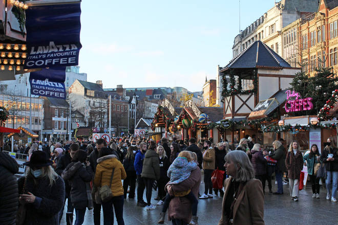 Big crowds at the Christmas market in Nottingham on Saturday