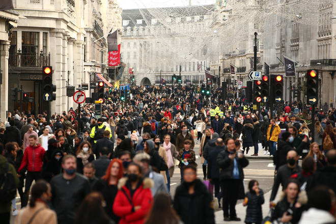 Shoppers flocked to London's Regent Street for Christmas shopping.