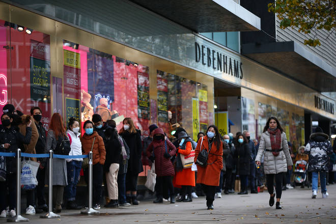 Shoppers return to Debenhams in Oxford Street last week after a four-week lockdown ended