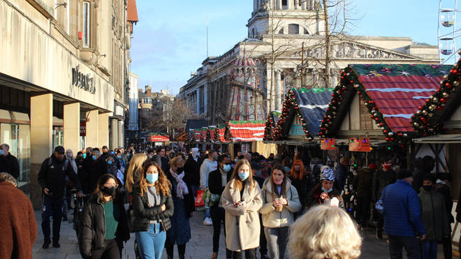 A large crowd descended on Nottingham's Christmas market on Saturday