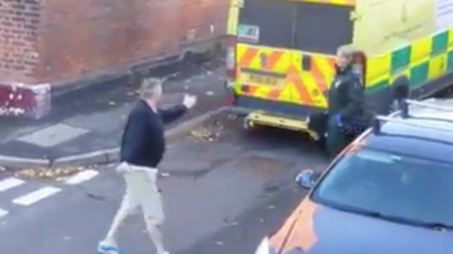 The moment an angry man shouted at a paramedic