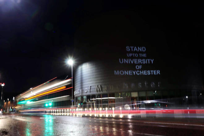 Manchester students projected their message onto a university building in November.
