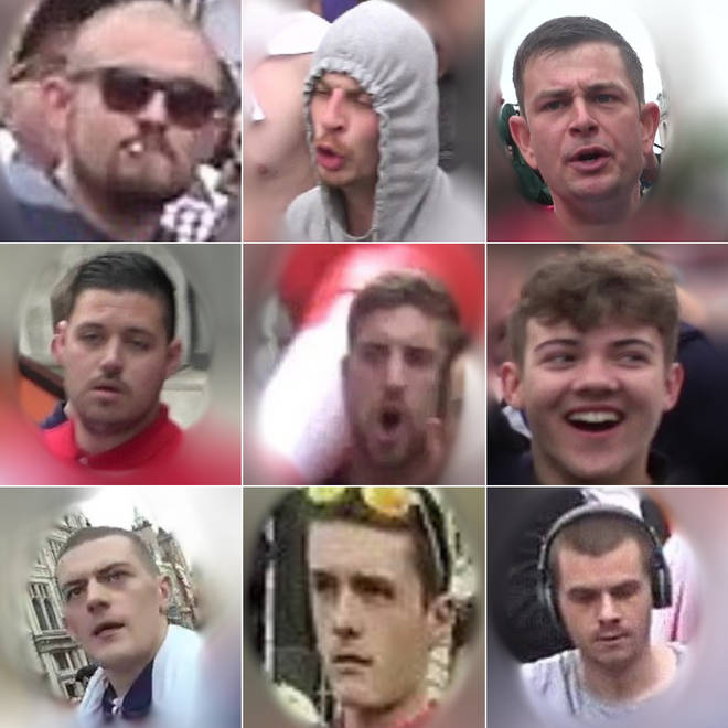 Some of the men police are hunting after violence broke out at a Free Tommy Robinson protest