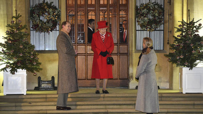 Queen Elizabeth talks with Prince Edward and Sophie Countess of Wessex