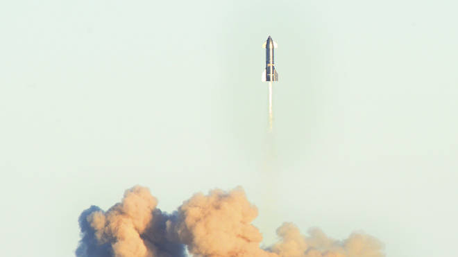 The SpaceX rocket takes off during a test flight