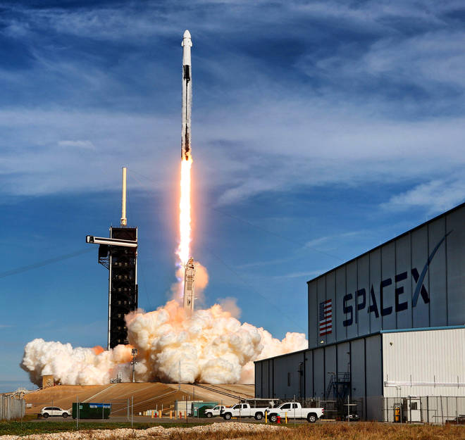 A Space X launch taking off on Monday