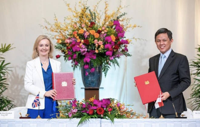 International Trade Secretary Liz Truss and Singaporean counterpart, Chan Chun Sing, Minister for Trade and Industry