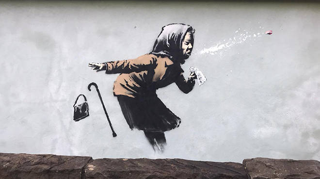 The Banksy style artwork has yet to be commented on by the artist.