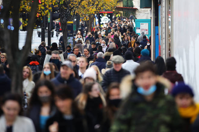 Shoppers on Oxford Street in London on the first weekend following the end of the second national lockdown