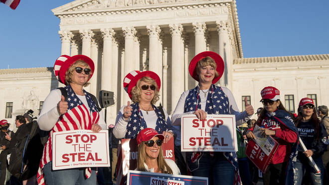 Trump supporters rallied outside the Supreme Court to protest against baseless claims of electoral fraud