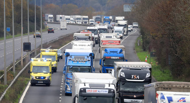 Lorries queued on the M20 on 24 November after the French authorities tested post-Brexit border controls.