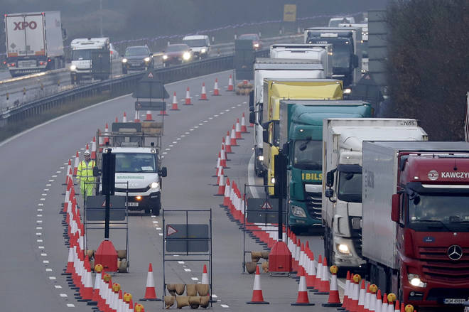 A contraflow system is being tested on the M20 ahead of the end of the transition period.