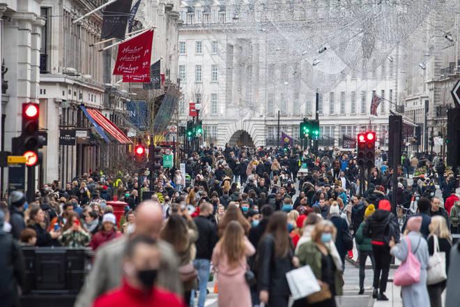 Shoppers on Regent Street, in central London