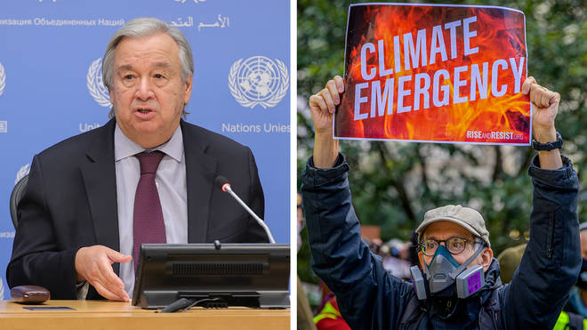 """Antonio Guterres warned that the world was heading for a """"catastrophic"""" 3C of warming."""