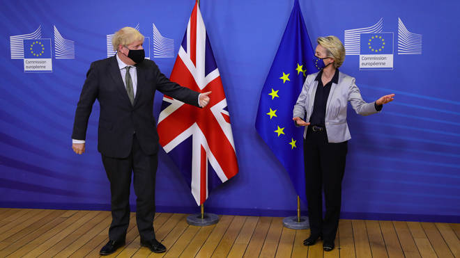 Boris Johnson and Ursula von der Leyen pictured together at their meeting in Brussels