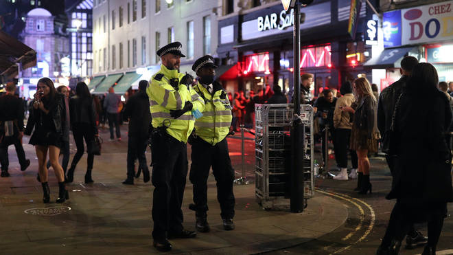 Police officers on patrol in Soho (file image)