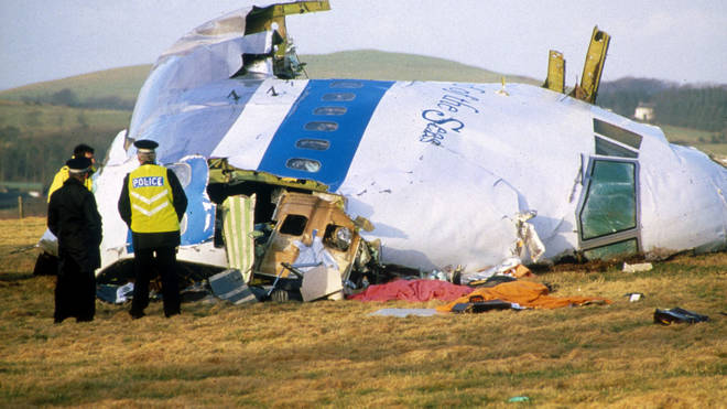 Aftermath of Pan Am Flight 103, which exploded Lockerbie in Scotland, killing 270 people