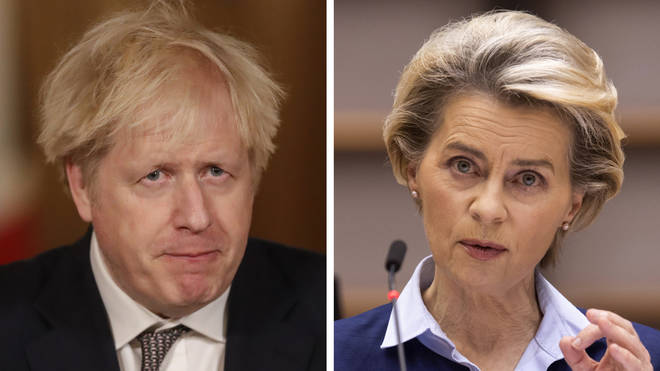 Boris Johnson and Ursula von der Leyen are due to speak at 7pm