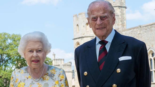 Queen Elizabeth II and the Duke of Edinburgh in the quadrangle of Windsor Castle