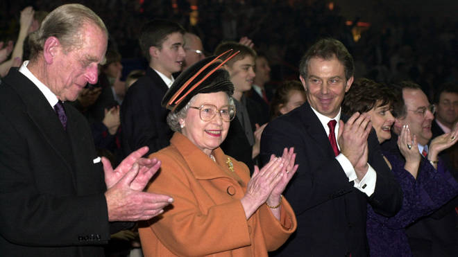 The Queen, the Duke of Edinburgh and the then Prime Minister Tony Blair at the opening ceremony of the Millennium Dome in Greenwich