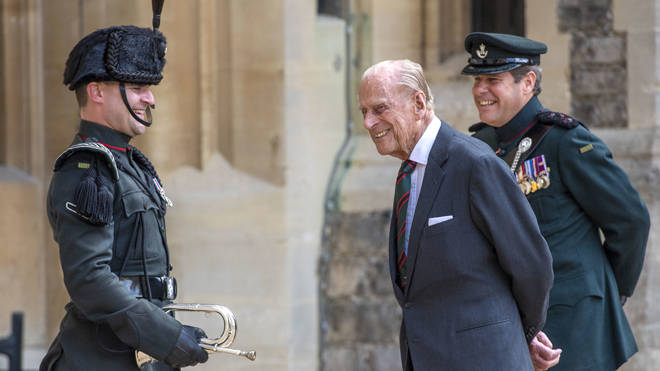 Prince Philip, Duke of Edinburgh attends a ceremony to mark the transfer of the Colonel-in-Chief of The Rifles at Windsor Castle on July 22, 2020