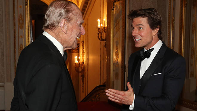 The Duke of Edinburgh meets Tom Cruise during a dinner at Buckingham Palace in London in 2017